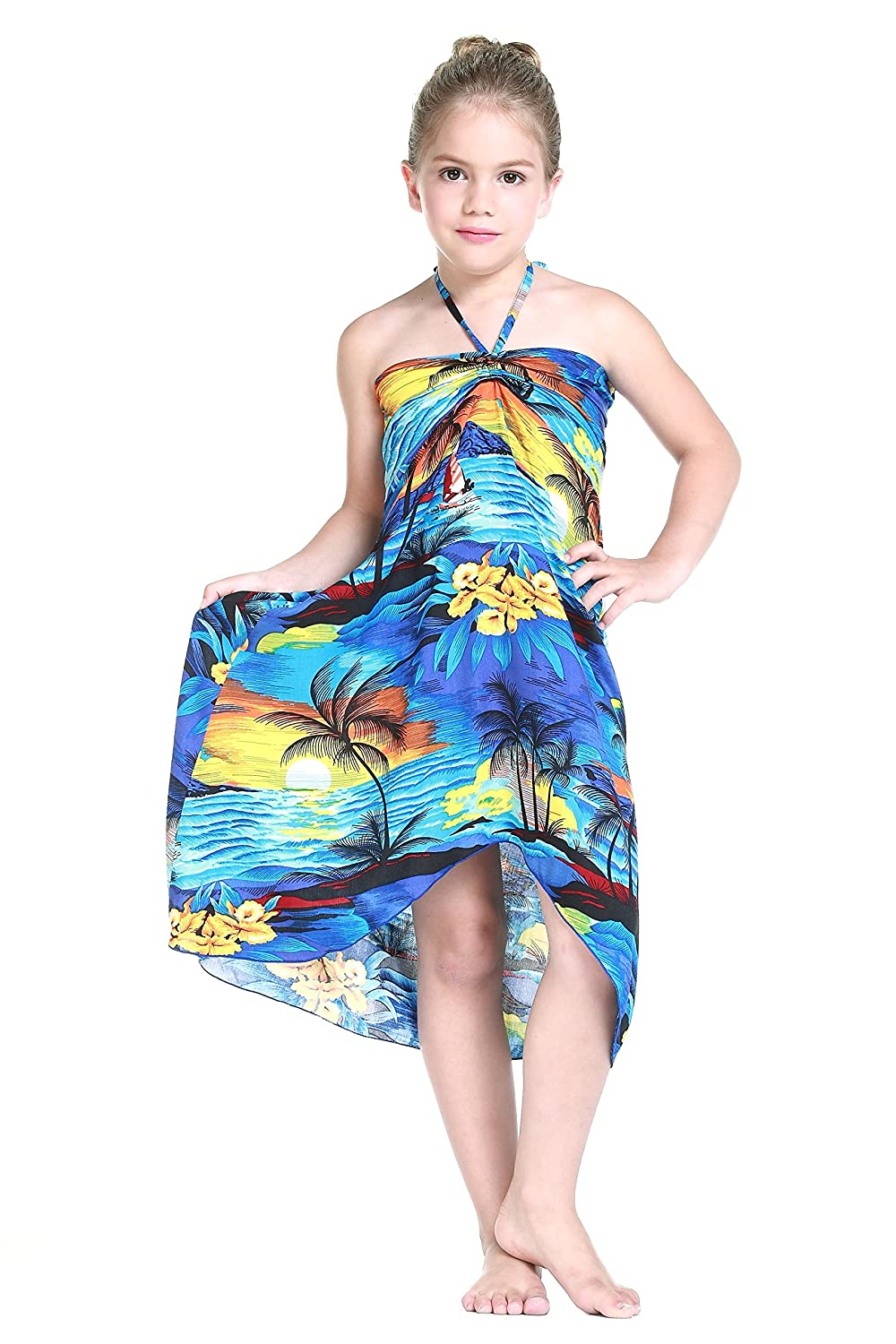 Amazon.com: Girl Hawaiian Butterfly Luau Dress in Sunset Blue: Clothing