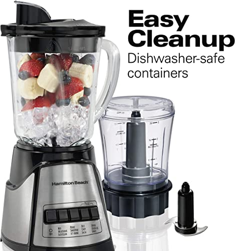 Hamilton Beach Power Elite Blender with 40oz Glass Jar and 3-Cup Vegetable Chopper, 12 Functions for Puree, Ice Crush, Shakes and Smoothies