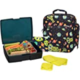 Bentology Lunch Bag and Box Set - Includes Insulated Bag with Handle, Bento Box, 5 Containers and Ice Pack - Alien