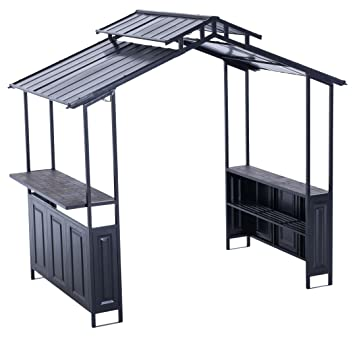 Sunjoy Deluxe Hard Top Grill Shelter With Serving Bar For Backyard