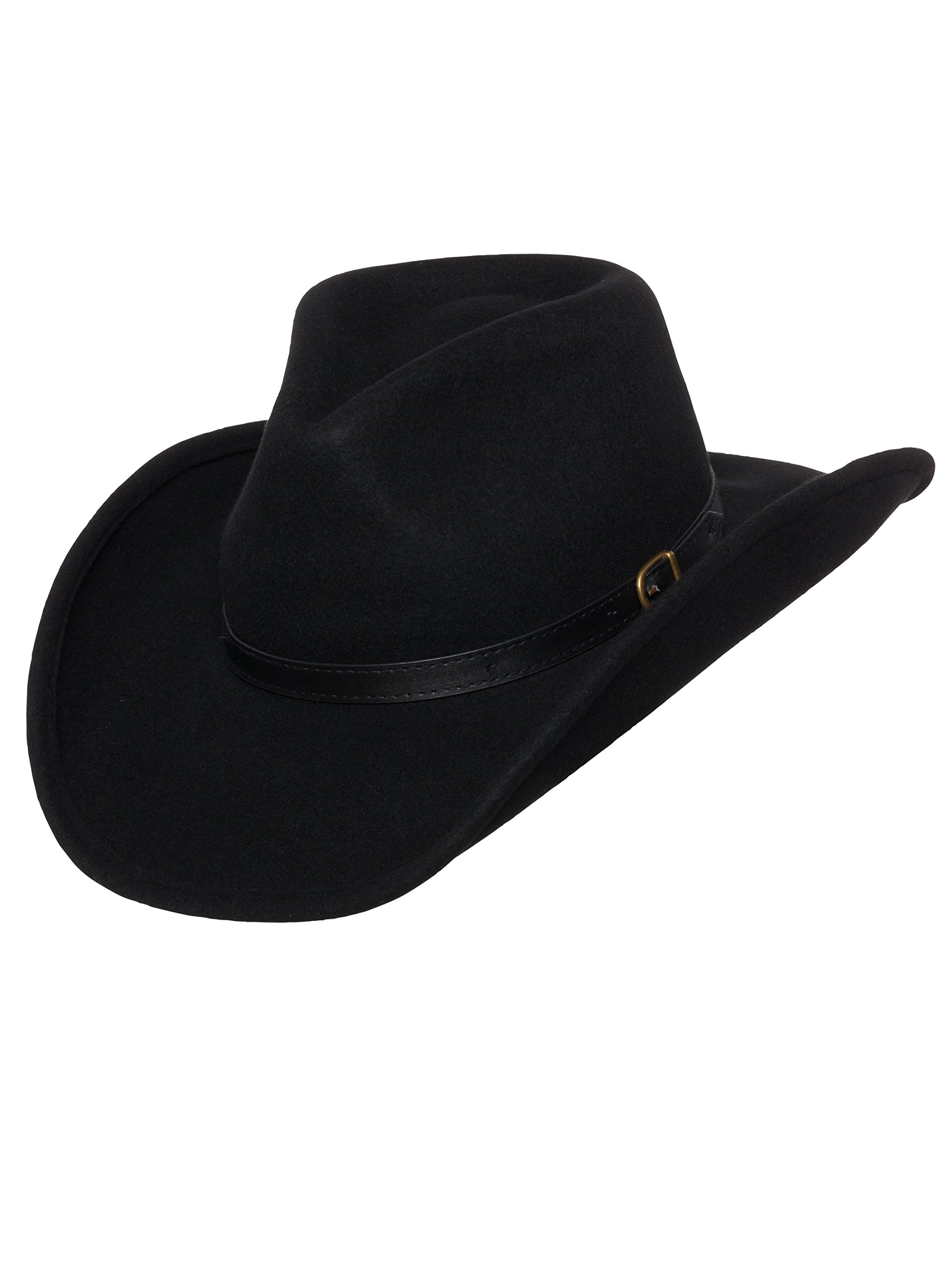 Men's Outback Wool Cowboy Hat Dakota Black Shapeable Western Felt by Silver Canyon, Black, Medium