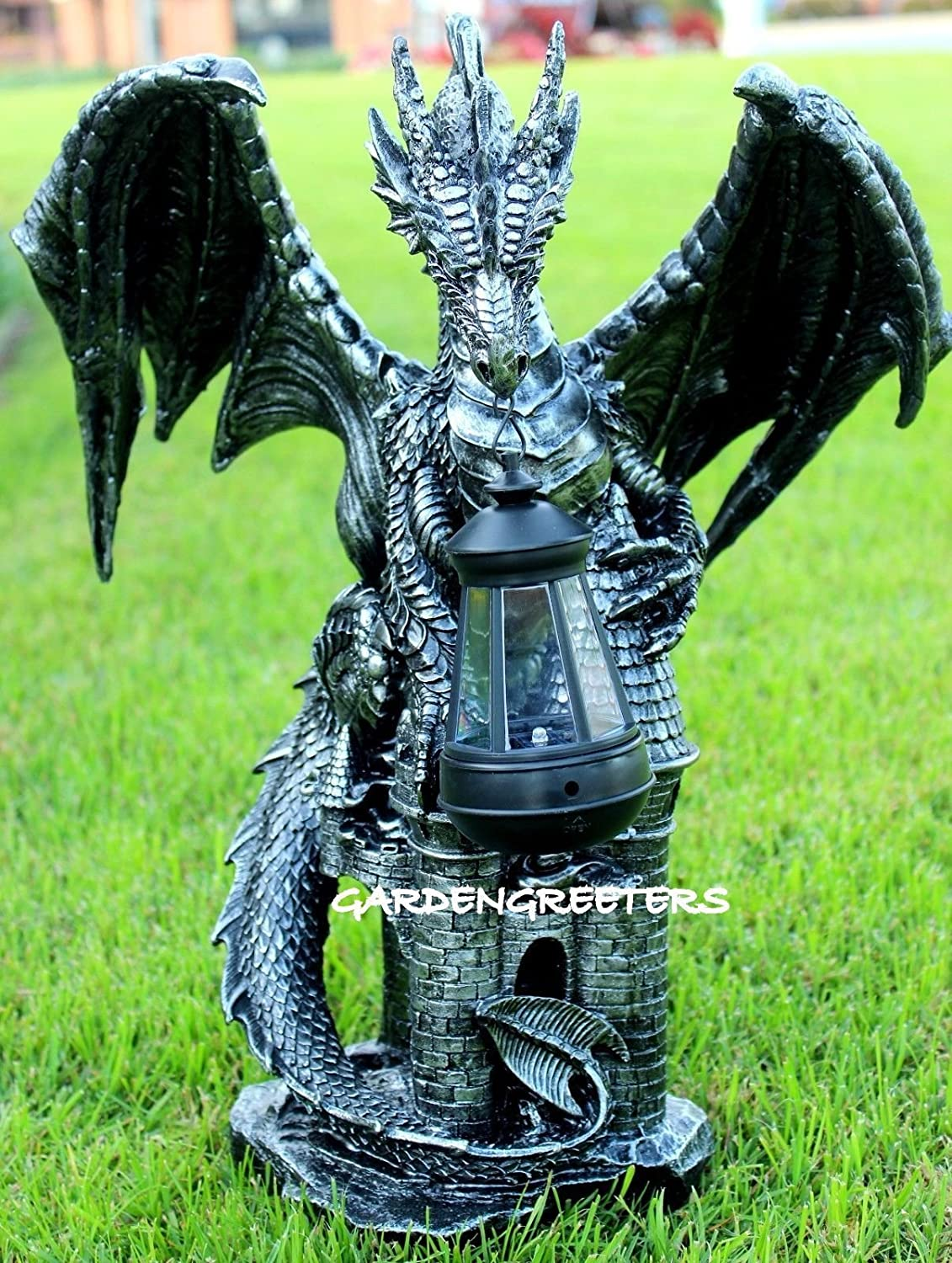 Dragon with Solar Light Statue Solar Dragon Lantern Figurine-f
