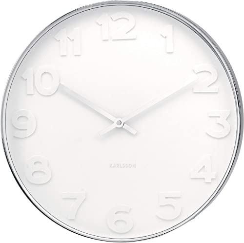 Present Time Karlsson Wall Clock Mr. White Numbers Steel Polished