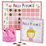 Princess Potty Training Gift Set with Book, Potty Chart, Star Magnets, and Reward Crown for Toddler Girls. Comes in Castle Gi