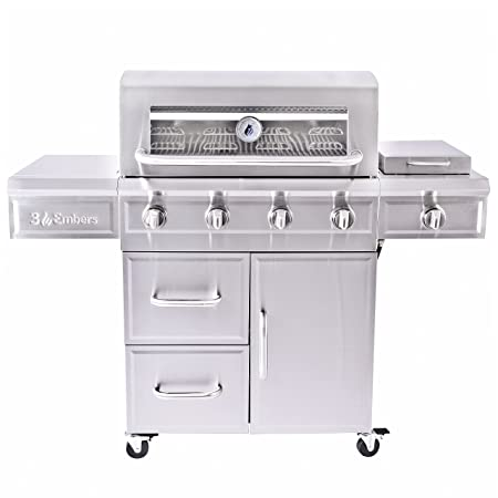 3 Embers 4-Burner Dual Fuel Propane Gas Grill with Radiant Embers Cooking System