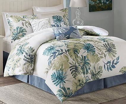 harbor house lorelai king size bed comforter set white green blue tropical - Harbor House Bedding