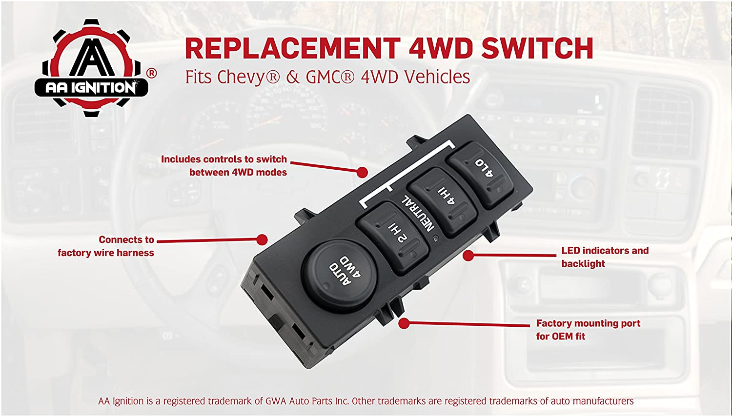 Amazon.com: 4WD 4x4 Switch - Replaces 901-072, 19168767, 15709327, 901-062  - Fits Chevy Silverado 1500, 2500HD Suburban, Avalanche, GMC Sierra 1500,  2500, ...