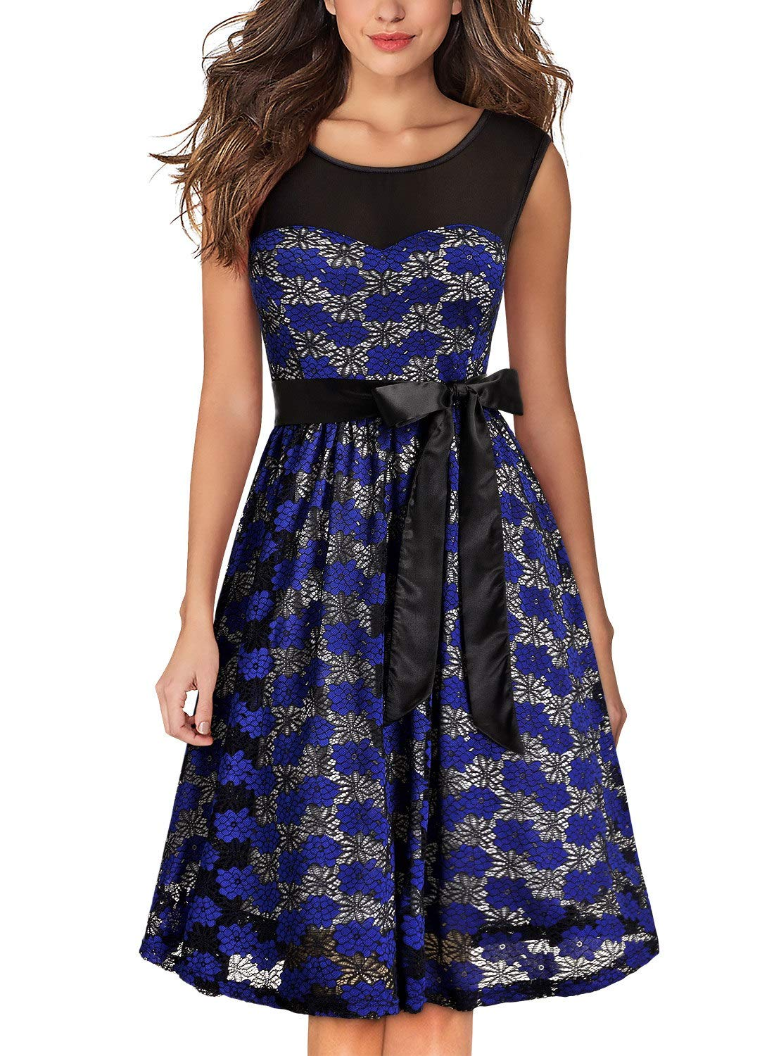 MissMay Women's Vintage Half Sleeve Floral Lace Cocktail Party Pleated Swing Dress GHA8015HEI01