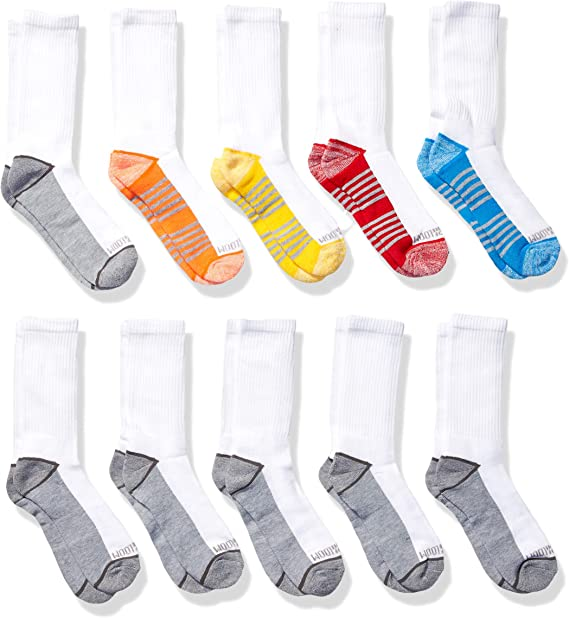 Fruit of the Loom Boys 10-Pair Flat Knit No Show Socks