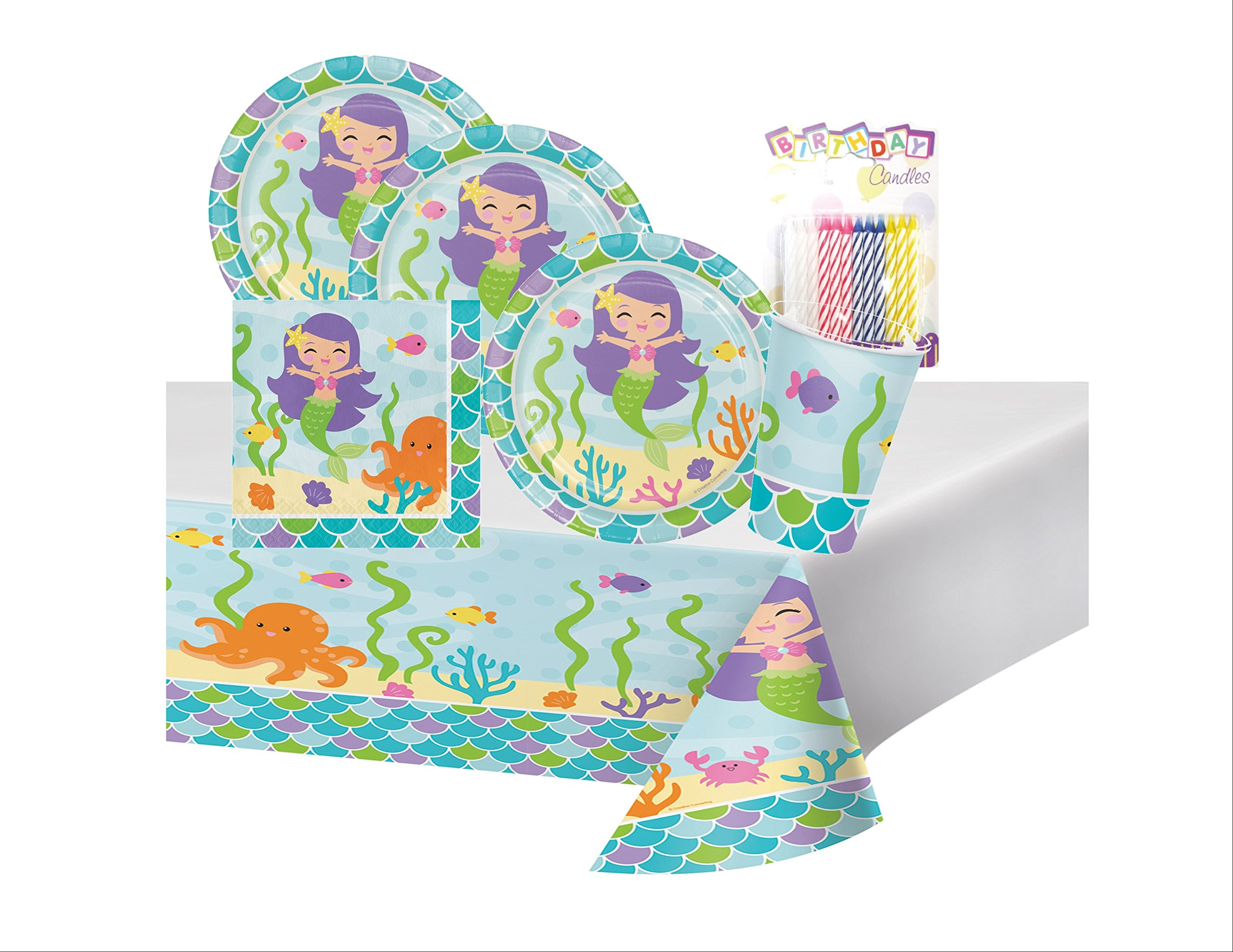 Mermaid Friends Birthday Party Supplies Pack Serves 16: Dinner Plates, Luncheon Napkins, Cups, Table Cover and Birthday Candles by Lobyn Value Pack