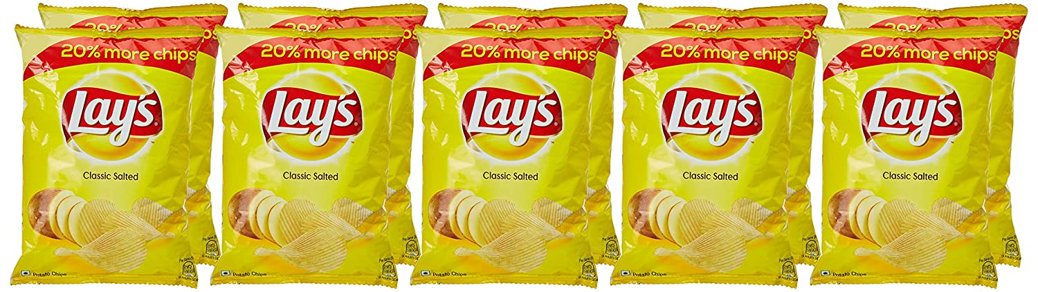 Lays Potato Chips, Classic Salted, 30g Each (Pack of 10)