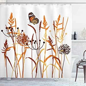 "Ambesonne Butterfly Shower Curtain, Composition with Leaves and Winged Animal Spring Season Plant Blossom, Cloth Fabric Bathroom Decor Set with Hooks, 75"" Long, Orange Brown"