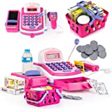 Prextex Pretend Play Electronic Toy Cash Register Stem Toy with Mic Speaker & Play Money Included for Kids