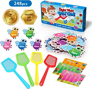 Shemira Sight Word Swat Game, Sight Word Educational Toy For Age of 3,4,5,6,7-Year-Old Boys & Girls, Homeschool, Phonics, Literacy Learning Games For Kids, Visual, Tactile and Auditory Learning,248pcs