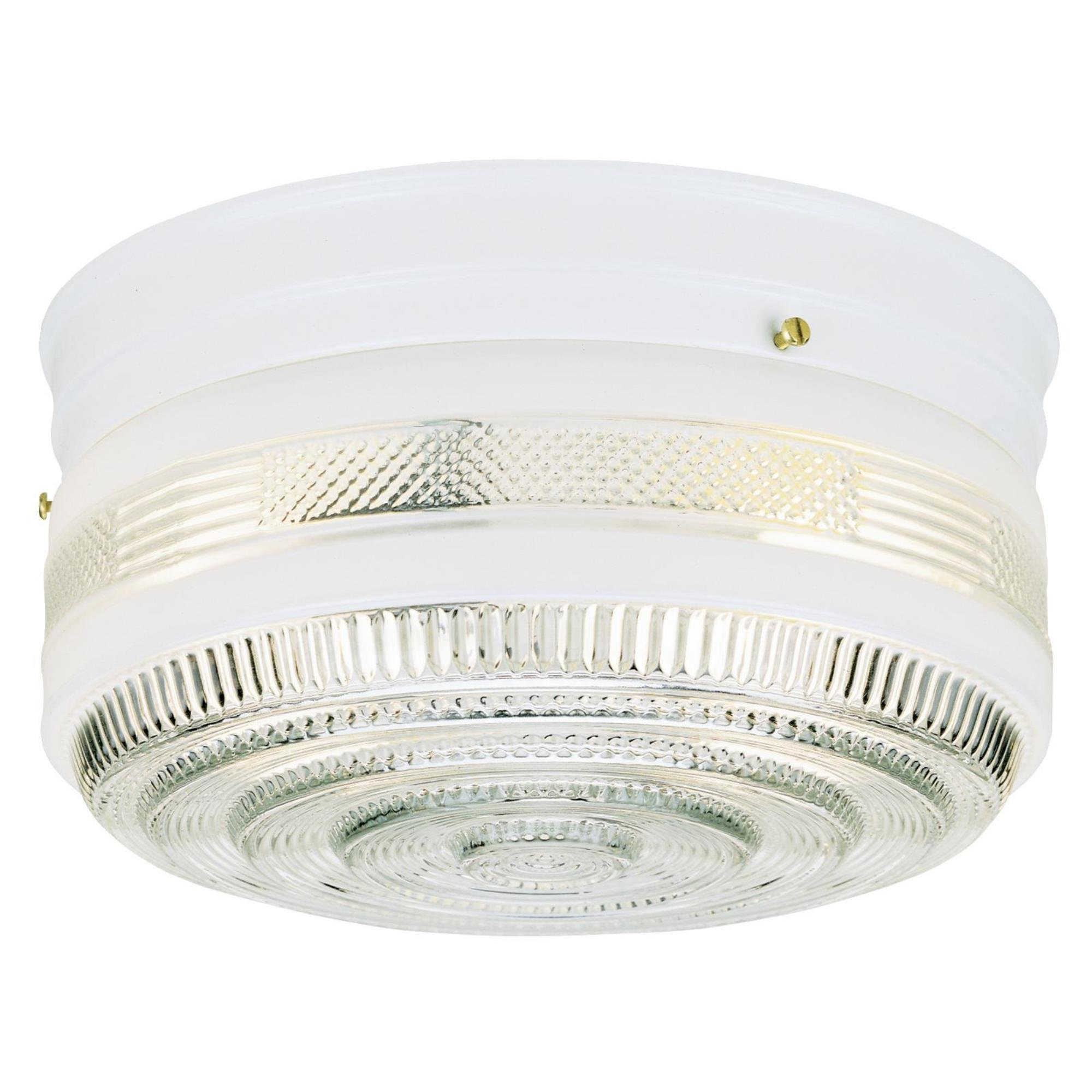 Westinghouse 6620400 One-Light Flush-Mount Interior Ceiling Fixture, White Finish with White and Clear Glass