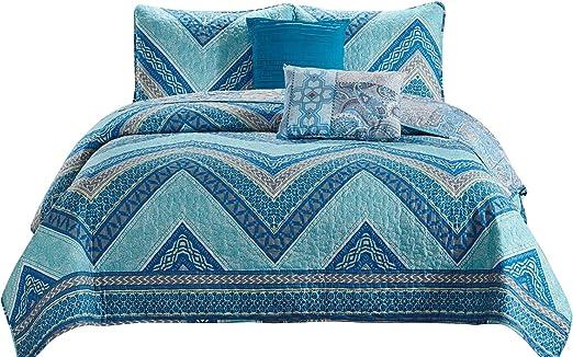 5 Piece Reversible Premium Quilt Set and shams Madison