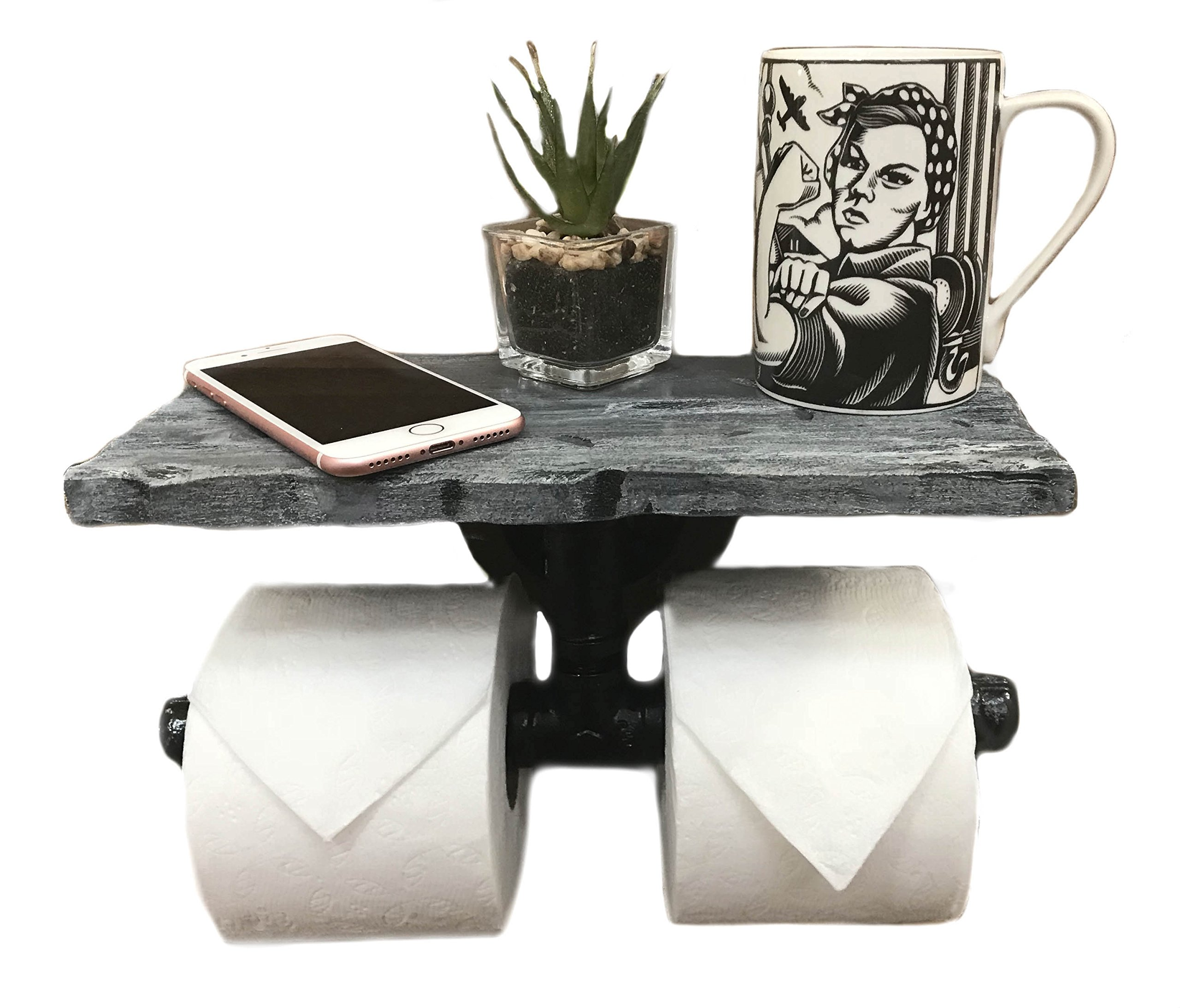 Piping Hot Art Works Toilet Paper Holder-Multi Roll Design-PERSONALIZED Floating Distressed Weathered Shelf. NEVER RUN OUT OF TP AGAIN ! (Wall Mounting Hardware Included!) (Weathered Blue/Gray)