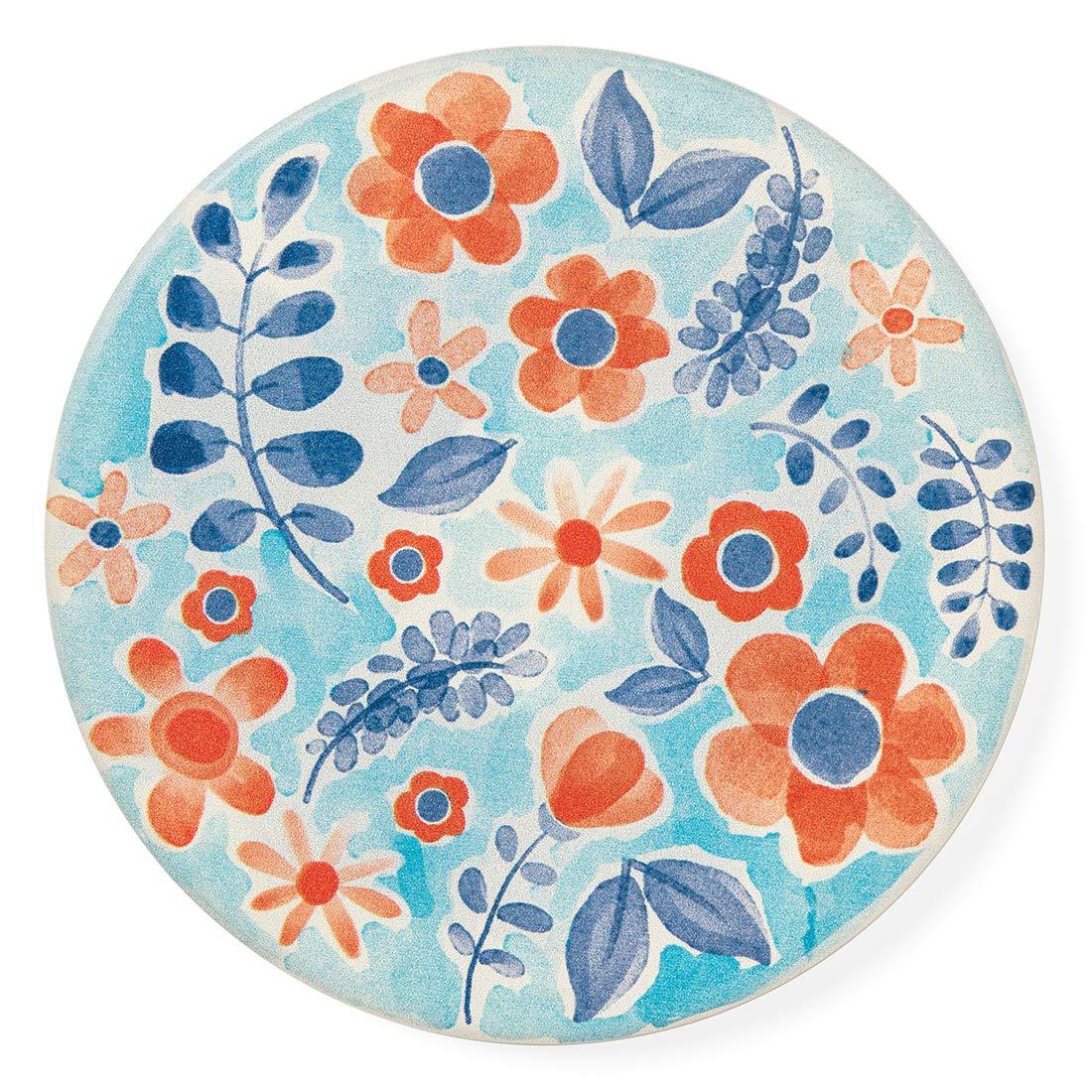 Juego de 4 posavasos de cer/ámica 4 pulgadas de di/ámetro /¡Agregue estilo a su comedor o sala de estar! Flores de acuarela azul Absorbente de agua! Fondo de corcho
