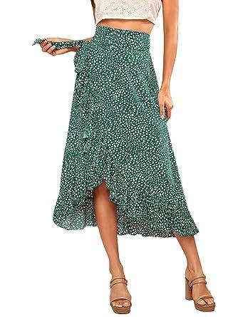 85d6ab4e11fe Verdusa Women's Waist Knot Leopard Print High Waist Wrap Split Skirt Green  XS