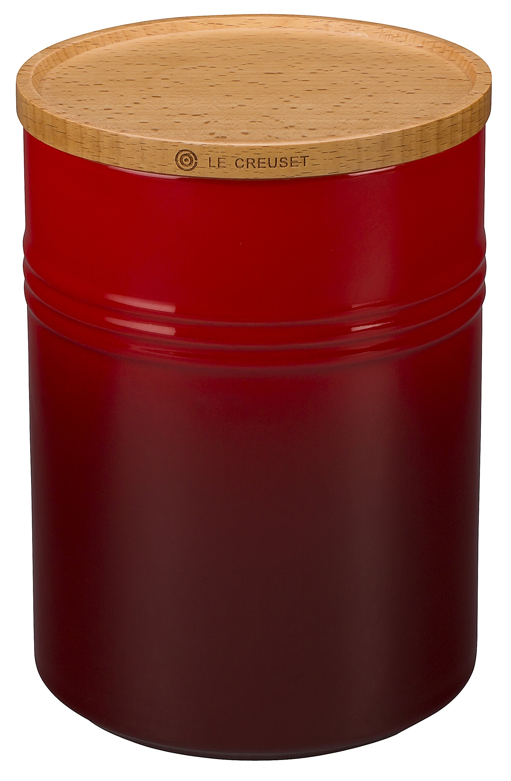 Le Creuset Stoneware 4'' Canister with Wood Lid, 22 oz, Cerise (Cherry Red) by Le Creuset (Image #1)