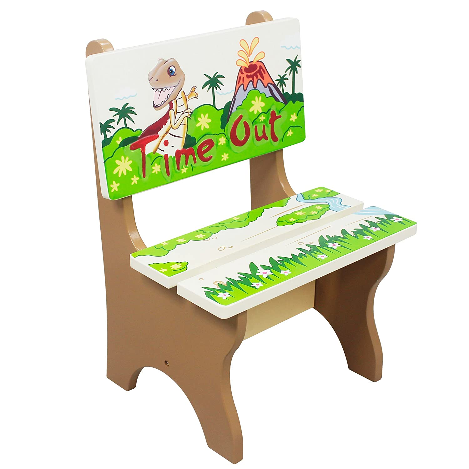 Fantasy Fields by Teamson Dinosaur Kingdom Childrens Wooden Naughty Time Out Chair Seat TD-0078A