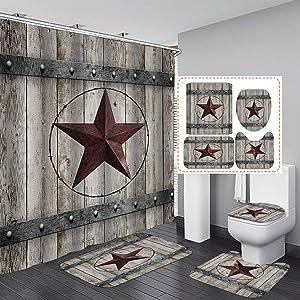 OLEBETY 4PCS/Set Western Texas Star Shower Curtain, Waterproof Fabric Bath Curtain, Rustic Barn Wooden Board Vintage Farmhouse Country Bathroom Decor, Non-Slip Bathroom Mat Bath Mat Toilet Rug, Grey