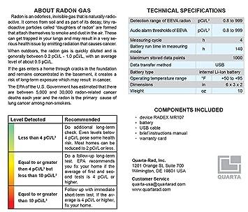 RADEX MR107 avanzada Radon Detector de gas para hogar: Amazon.es: Bricolaje y herramientas