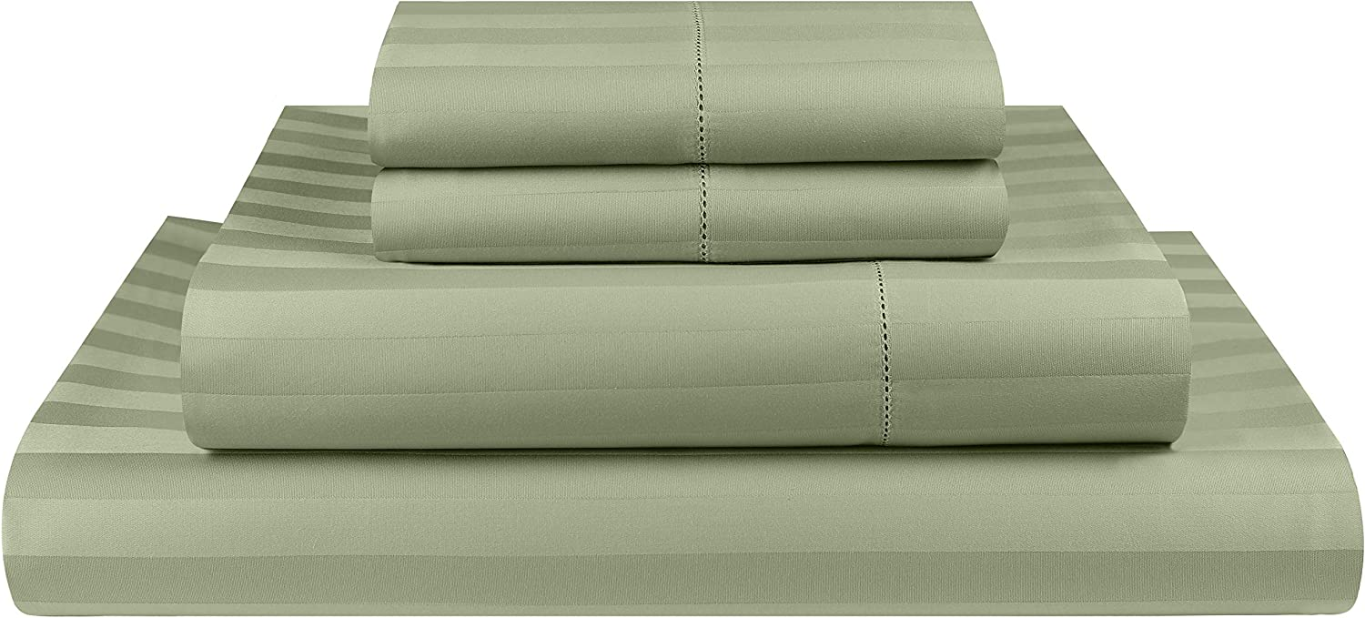 Threadmill Home Linen 500 Thread Count Damask Stripe Cotton Sheets 100% ELS Cotton, Hem Stitch Luxury 4 Piece Bed Sheet Set, Fits Mattresses up to 18 inches deep, Smooth Sateen Weave, Full, Sage