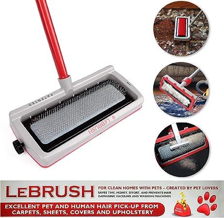 Cepillo universal para remover el pelo de mascotas, perros, gatos, escoba, herramienta multifuncional, cepillo de limpieza de alfombras y telas para recoger gatos, perros, pelos de mascotas con adaptador de aspiradora gris:
