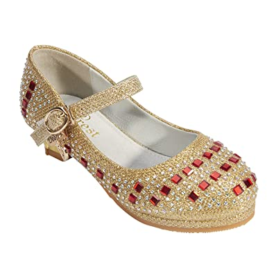 2879819783162a Mädchen Gelee Partei Absatz-Schuhe Sandalen für Kinder Glanz Prinzessin mit  Diamanten (EU 30