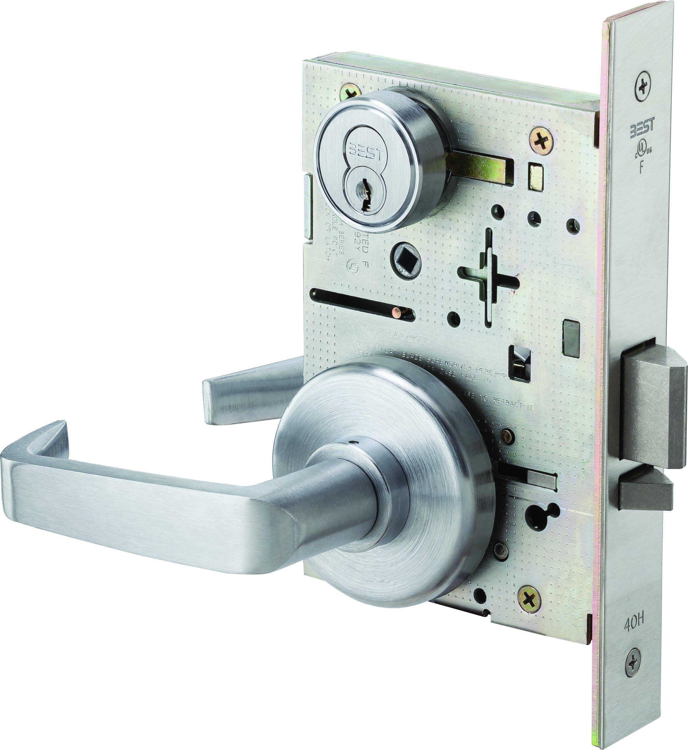 Stanley Best 45H 7 D 15 H 626 RH 7-Pin Contour Angle Return Standard Lever Lock, Storeroom, Satin Chrome, 2''