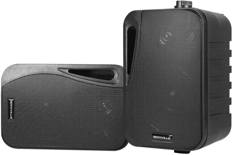 """Pair Rockville HP4S BK 4"""" Outdoor/Indoor Swivel Home Theater Speakers in Black"""
