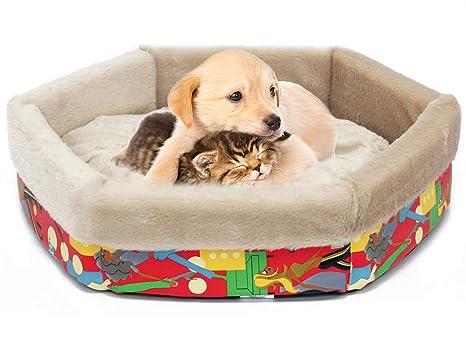 BPS Cama para Perro Gato con Forma Hexagono Colchoneta Cuna para Mascotas Material Suave 3 Medidas