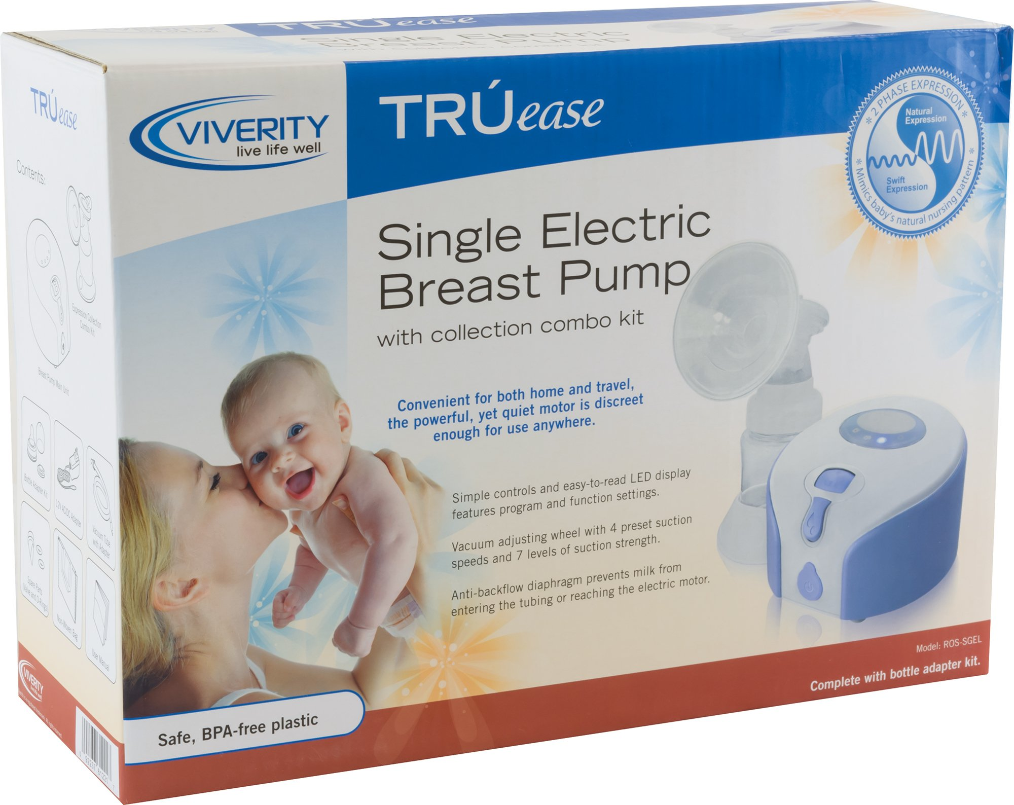 Viverity ROS-SGEL Truease Single Electric Breast Pump with Collection Combo Kit