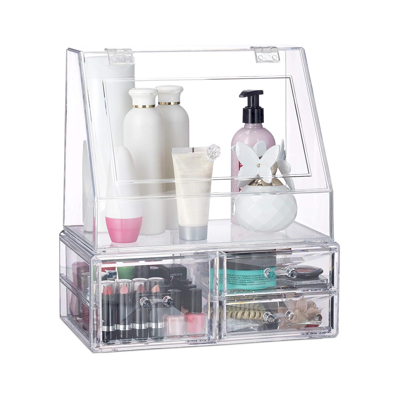 Organizador acrílico para maquillaje y joyas. Con espacio para pefumes.