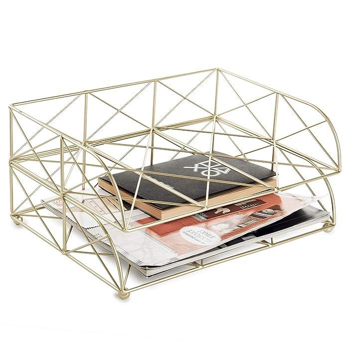 MyGift 2-Tier Geometric Light Gold-Tone Metal Desktop Stacked Letter Tray