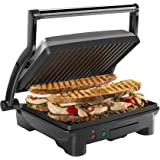 Chefman RJ02-180-4-AM Panini Press Grill and Gourmet Sandwich Make,r Non-Stick Coated Plates, Opens Stainless Steel Surface and Removable Drip Tray, 4 Slice