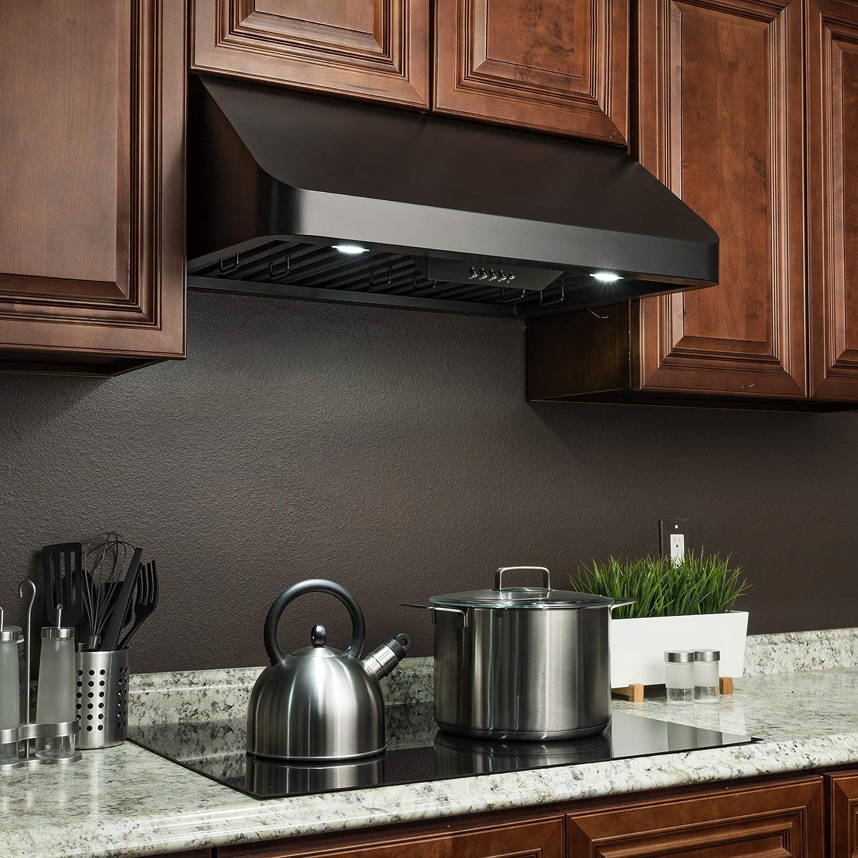 Firebird - Campana de cocina de acero inoxidable con acabado negro ...