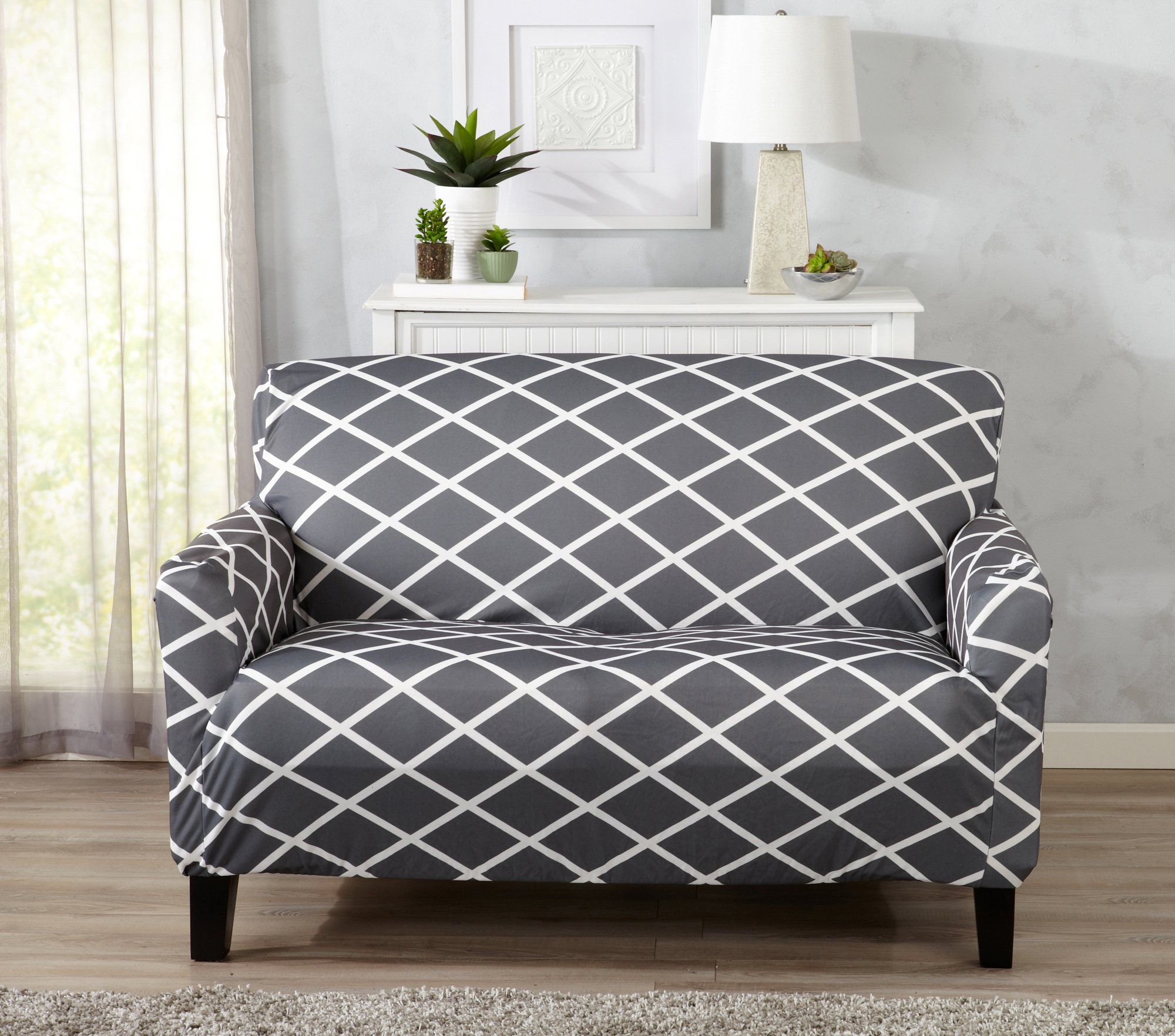 Great Bay Home Strapless Stretch Printed Slipcover Loveseat Cover, Stain and Spill Resistant. Tori Collection by (Love Seat - Grey)