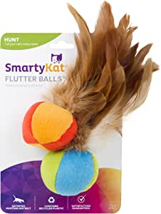 SmartyKat Flutter Ball Cat Toy Feather Ball 2 Pack