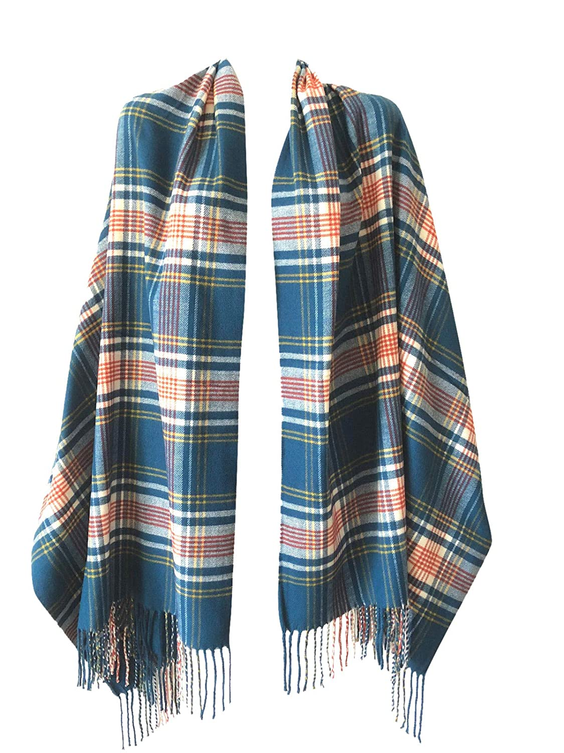 bluee orange Touch Plaid Women Oversized Scottish Clan Tartan Plaid Cashmere Feel Shawl Wrap Winter Scarf