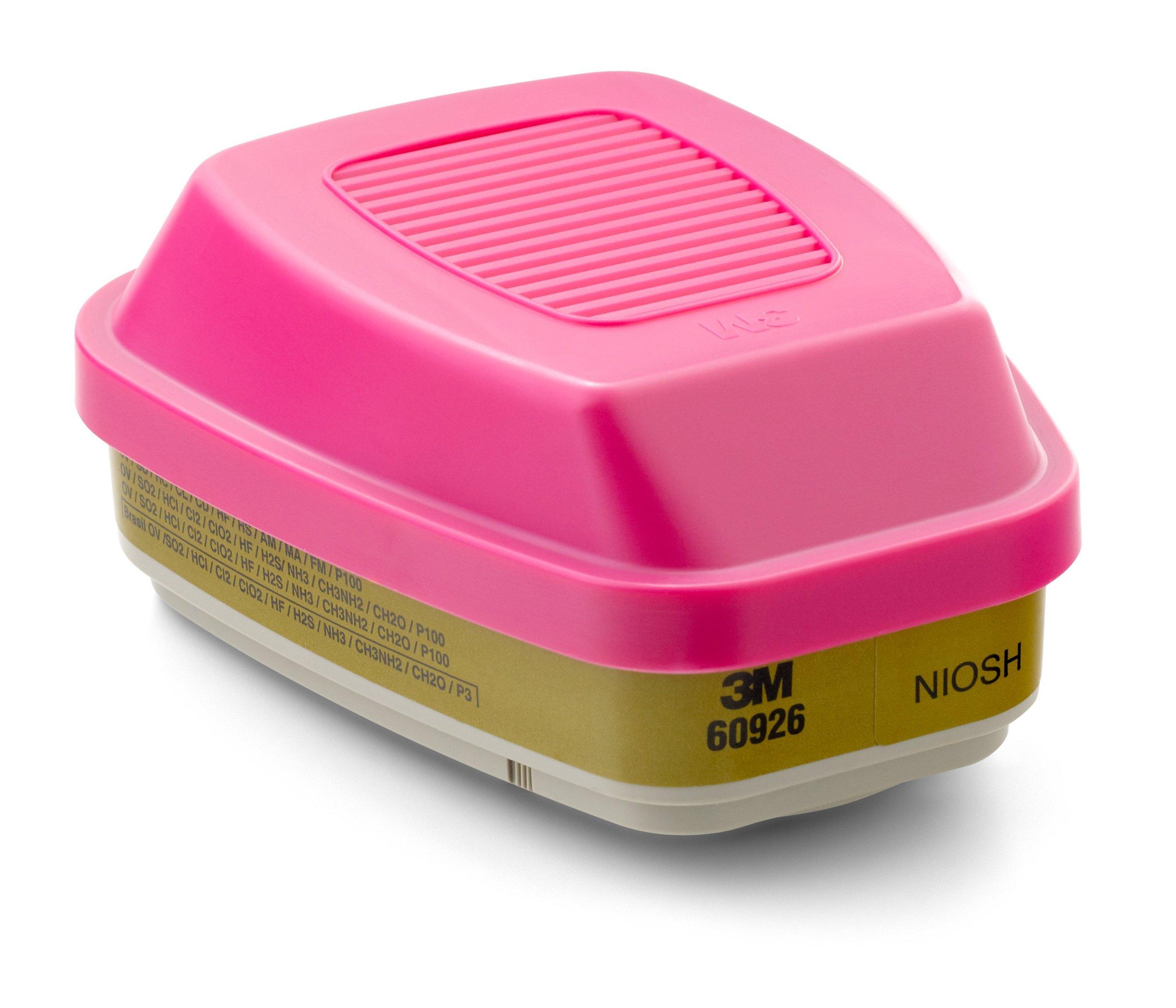 3M Multi Gas/Vapor Cartridge/Filter 60926, P100 Respiratory Protection (Pack of 2)
