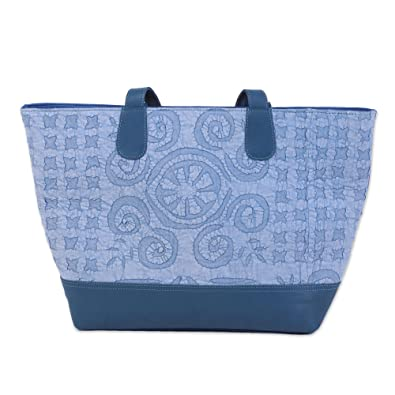 Novica Leather accent cotton handle handbag, Stylish Blue