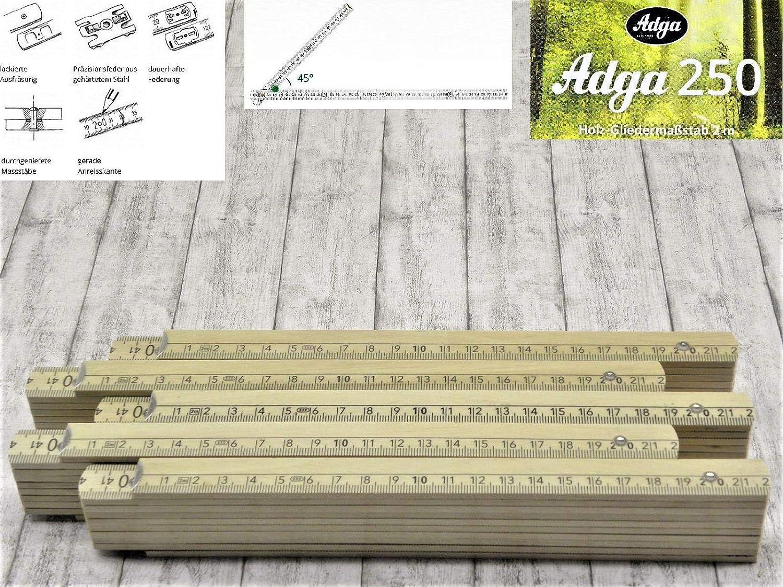Adga 250 Qualit/äts Meterstab 2m Holz natur Winkel/übersicht 5 Stk