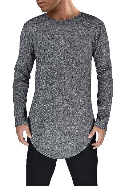 Moomphya Mens Extend Long Tail Hipster Hip Hop Streetwear T Shirts Curve  Hem Long Sleeve Slim 822d02ad820b