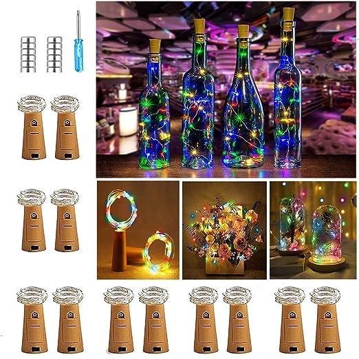【12 St/ück】Nasharia 20 LEDs 2M Flaschen Licht Mehrfarbig Lichterkette f/ür Flasche LED Lichterketten Stimmungslichter Weinflasche Mini Kupferdraht