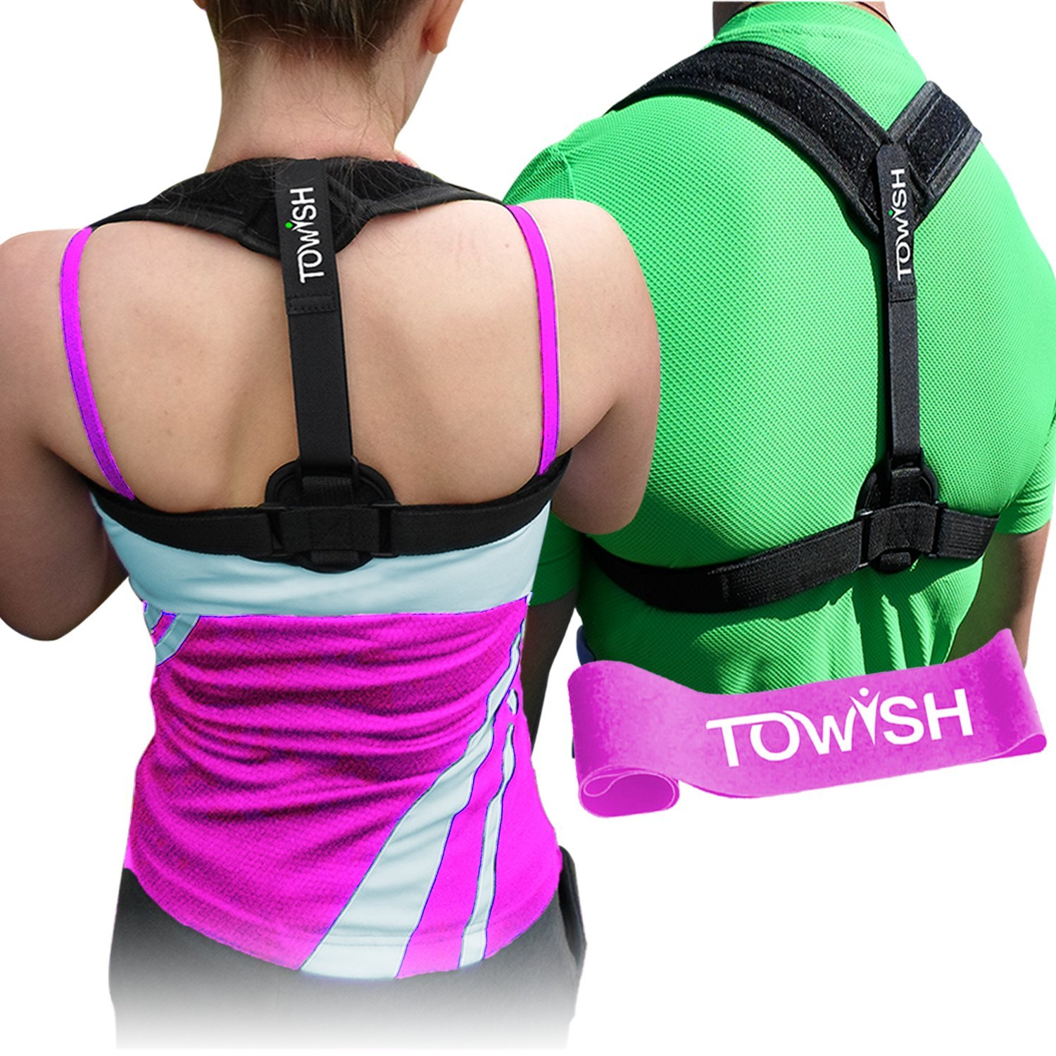 TOWISH Posture Corrector & Adjustable Back Support - Premium Aid Back Brace Helps with Bad Shoulder,Clavicle Alignment and Cervical Neck Pain - Comfortable Medical Figure 8 Correction Device - M Size
