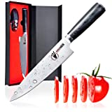Carbon Knife and Sharpener Chef Vegetable Knife for Cooking German Steel High Carbon 8 Inch Sharp Ergonomic and Balanced Kitchen Knife for Chopping Slicing Dicing