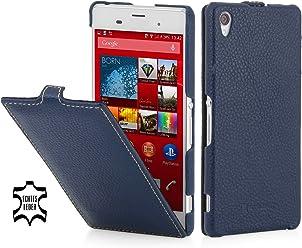 StilGut® UltraSlim Case, custodia in pelle per Sony Xperia Z3, blu navy