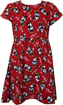Licensed Disney Minnie Mouse Character Design Girl/'s Short Sleeves Day Dress Red